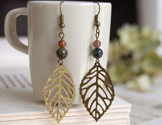 Antiqued Brass Filigree Leaf Indian Agate Bead Earrings by LeChaim, $12.00