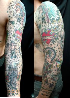 American Traditional Tattoo Sleeve, Old School Tattoo Arm Tribal Tattoos, Dot Tattoos, Trendy Tattoos, Tattoos For Guys, Octopus Tattoos, Geometric Tattoos, Tattoo Ink, Tatoos, Old School Tattoo Sleeve