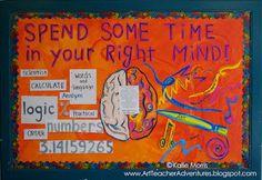 Bullitin for art room LOVE Adventures of an Art Teacher: Right Brain Bulletin Board Bulletin Board Display, Classroom Bulletin Boards, Classroom Posters, Classroom Displays, Art Classroom, Classroom Ideas, Classroom Organization, Organization Ideas, Chalkboard Classroom