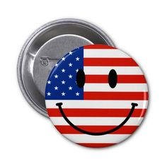 Patriotic USA Smiley Face Pinback Button