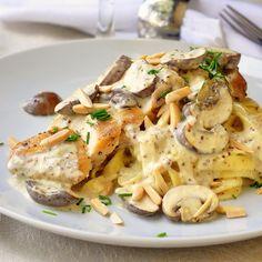 Dijon Chicken Linguine with Crimini Mushrooms and Toasted Almonds - 25-Plus Delicious Dijon Recipes
