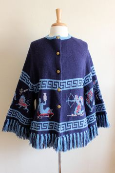 1970s Sweater / Vintage Blue Astrology Sun Signs Cardigan Sweater with Fringe / 70s Bohemian Zodiac Sweater