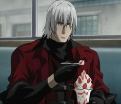 Devil May Cry Dante. (Him and his strawberry sundaes...tsk tsk)