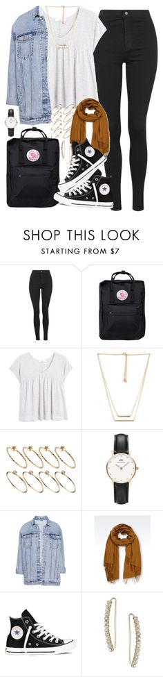 """""""Outfit for uni with high waisted jeans"""" by ferned ❤ liked on Polyvore featuring Topshop, Fjällräven, MANGO, Forever 21, ASOS, Daniel Wellington, Pull&Bear, Emporio Armani and Converse"""