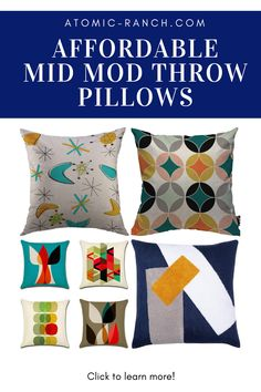 Feeling a bit bored with your furniture, but don't have the budget to buy something new? Give your sofa, armchair or bed a facelift with these fun Mid Century Modern throw pillows! Learn more at Atomic-Ranch.com. Decorative Pillow Covers, Throw Pillow Covers, Atomic Ranch, Leather Pillow, Modern Throw Pillows, Mid Century Modern Decor, Mid Century House, Cool Patterns, Mid-century Modern