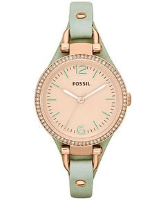 Fossil Women's Georgia Mint Leather Strap Watch 32mm ES3467 - Women's Watches - Jewelry & Watches - Macy's