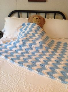 New Blue & White Baby Blanket Hand Crochet Free by YarnQueens