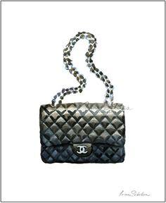 #Chanel Classic Bag (Print), Chanel Art, Fashion Illustration, Chanel Illustration, Fashion Wall Decor, Fashion Poster, Art Poster . #fashionillustration by #IrinaSibileva
