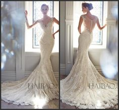 Wholesale Vintage Wedding Dress - Buy Best Selling 2014 Vintage Wedding Dresses V Neck Sheer Straps Sequins Beads Mermaid Bridal Gowns Lace Button Back With Tulle Sweep Train Hot, $211.93 | DHgate