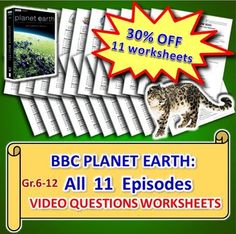 planet earth all 11 episodes video quizzes bundle editable david attenborough earth and. Black Bedroom Furniture Sets. Home Design Ideas