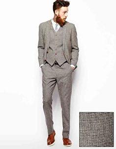 groom Image 1 ofASOS Slim Fit Suit In Houndstooth