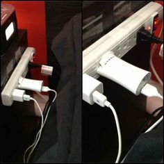 Have short charger cords? Need a power strip near your bed? Tape it to your nightstand. | 36 Life Hacks Every College Student Should Know
