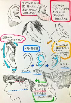 Manga Drawing Tips 吉村拓也氏による耳と非イケメンの描き方のコツ Anatomy Drawing, Manga Drawing, Drawing Practice, Figure Drawing, Anatomy Reference, Drawing Reference, Drawing Techniques, Drawing Tips, Tutorial Draw
