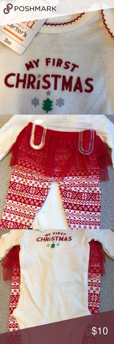 Baby's First Christmas 2-piece set Adorable baby's First Christmas romper with snowflake leggings and attached tutu❤️ Carter's Matching Sets