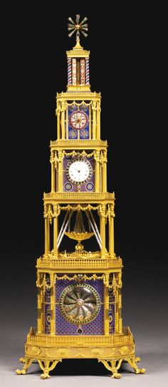 A GEORGE III ORMOLU, GENEVA ENAMEL AND PASTE-SET MUSICAL AUTOMATON QUARTER STRIKING TOWER CLOCK FOR THE CHINESE MARKET, LONDON, CIRCA 1790 Tower Clock, Chinese Market, Clock Art, Mantel Clocks, Old Clocks, Antique Clocks, Unusual Clocks, Retro Clock, Sundial