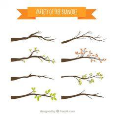 Variedade de galhos de árvores Vetor grátis