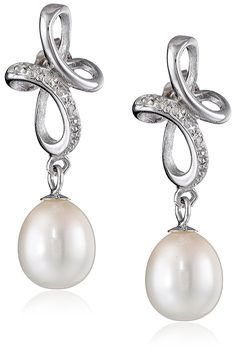Sterling Silver, Freshwater Cultured Pearl, and Diamond Swirl Dangle Earrings -- Want additional info? Click on the image.