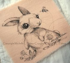 Original Pen Ink on Fabric Illustration Quilt Label by Michelle Palmer Rabbit Baby Bunny Bumble Bee Clover February 2016