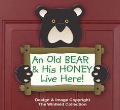 Bear & Moose Decor - Old Bear Door Sign Woodcraft Pattern Barn Wood Crafts, Wooden Crafts, Diy Crafts, Winfield Collection, Moose Decor, Bear Decor, Wood Craft Patterns, Primitive Patterns, Craft Projects