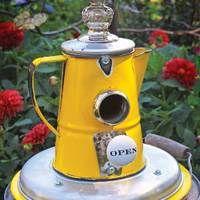 Bird feeder from repurposed teapot