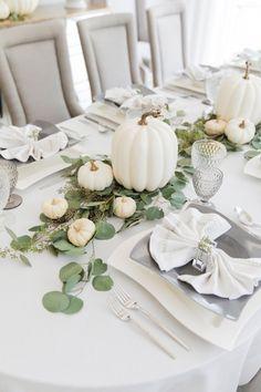 Thanksgiving White Pumpkin Tablescape