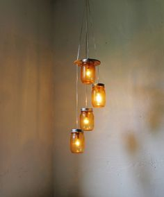 Firefly Dance Mason Jar Chandelier 4 Quilted Pint por BootsNGus