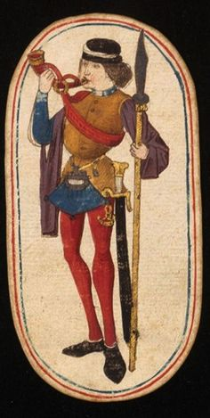 Knave, from the Cloisters set of 52 playing cards, ca. South Netherlandish (now Belgium). Medieval Games, Medieval Life, Medieval Art, Renaissance, Vintage Playing Cards, Late Middle Ages, The Cloisters, Book Of Hours, Medieval Manuscript