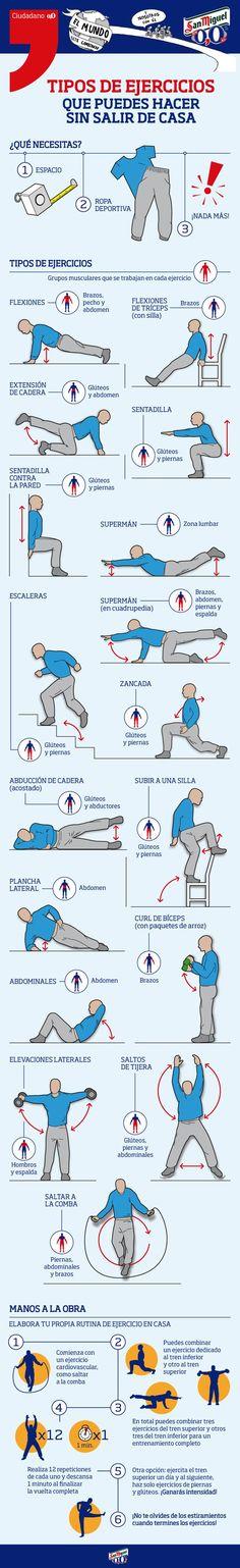 17 ejercicios que puedes hacer sin salir de casa. #deporte #infografía