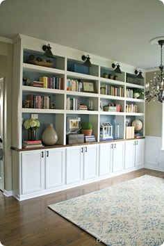 from Thrifty Decor Chick: add lighting to study built-ins/wiring through attic?