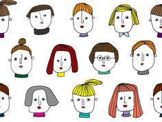 今週末も絵を描く。女の人の顔をずらずらと。 --------------------------------------------------------------------------- Simple Illustration, Character Illustration, Drawing For Kids, Line Drawing, Doodle Paint, Art Phone Cases, Animated Icons, Face Sketch, Doodle Designs