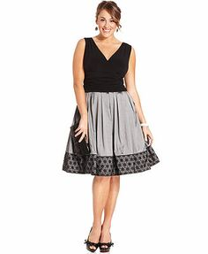 SL Fashions Plus Size Dress, Sleeveless A-Line Ruched