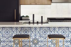 Pantone's Color of the Year: Classic Blue | Bedrosians Tile & Stone Eclectic Kitchen, Home Decor Kitchen, Kitchen Stuff, Kitchen Design, Room Tiles, Wall Tiles, Booth Seating In Kitchen, Tile Stores, Flooring Store