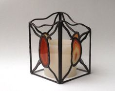 Stained Glass Candle Lantern Clear Glass with Natural Agate Stones - Votive or Regular Candle Holder - Handmade Gift