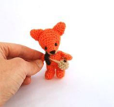 miniature stuffed fox, collectible cuddly funny gift, amigurumi orange fox, crocheted fox, woodland animal, small stuffed animal    This
