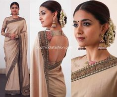 Keerthy Suresh in Sabyasachi at National Film Awards - Bhagavathy Rajeevan - internationally inspired New Saree Blouse Designs, Fancy Blouse Designs, Indian Fashion Dresses, Indian Designer Outfits, Saris, Nike Free, Burberry, Stylish Blouse Design, Saree Trends