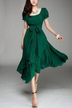 (4) Fancy - Irregular Hemline Bound Waist Short Sleeve Dress