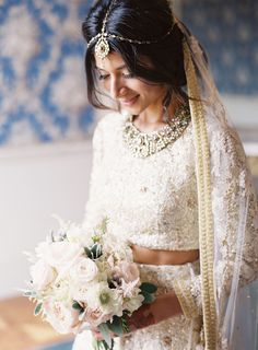 Absolute stunning gold beaded two piece wedding ensemble: Photography : Taylor & Porter Read More on SMP: http://www.stylemepretty.com/2016/12/07/hindu-wedding-english-countryside/