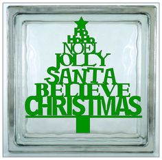 Glass+Block+Vinyl+Decal++Word+Santa+Christmas+Believe+by+Shopncrop,+$4.00