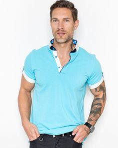 Turquoise polo shirt for men by Maceoo