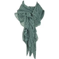 Dorothy Perkins - Green crochet ruched scarf by None, via Polyvore