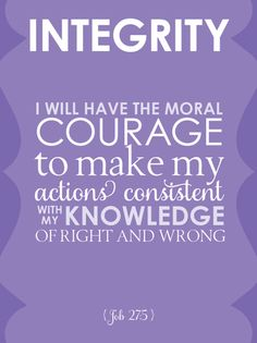 Young Women Value Card, Integrity