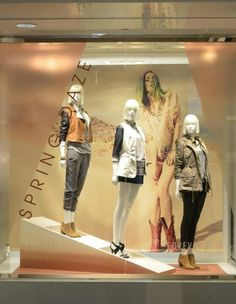 Forever 21 Store Window - Love the fall looks  - Made window smaller with Vynil - Great colour coordination - Diagonal lettering..definitely eye-catching - Love the use of space