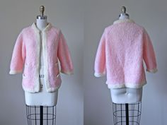 60s Mohair Sweater - Vintage 1960s Chanel-esque Hand Knit Pink Mohair Cardigan Jacket M L - Italian Ice Sweater by jumblelaya on Etsy