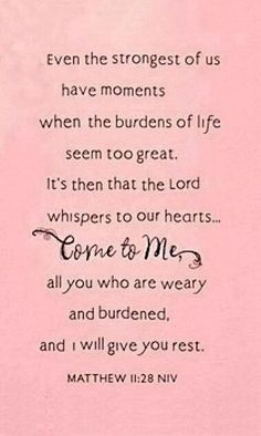 God will carry our burdens