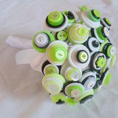 Lime green button bouquet alternative non by AngelasArtistic, $84.00