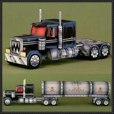 Phantom Semi Truck Free Vehicle Paper Model Download - http://www.papercraftsquare.com/phantom-semi-truck-free-vehicle-paper-model-download.html