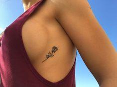 Black Rose Tattoo (Pack of - Tattoos - Minimalist Tattoo Rosen Tattoo Brust, Brust Tattoo, Dream Tattoos, Future Tattoos, Body Art Tattoos, Tatoos, Danty Tattoos, Side Boob Tattoo, Rib Cage Tattoos