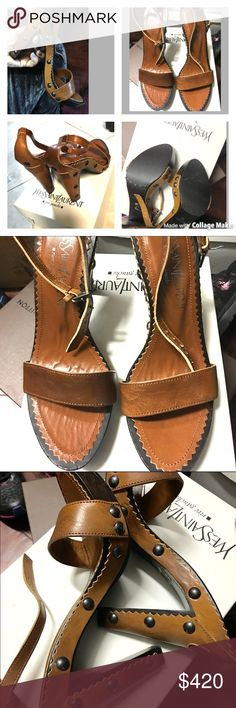 YLS Authentic Brown Leather Sandals. Brand New YLS Authentic Brown Leather Strapy Sandals with Studs. Brand New with Box. Never worn. Yves Saint Laurent Shoes Sandals