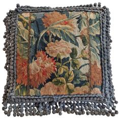 19th Century Antique Tapestry Pillow. 1st Dibs