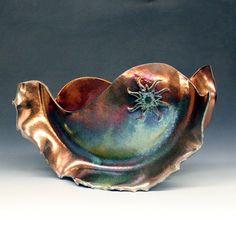 Copper Raku Ceramic Sculpture with Ornamental Sun by Raku4u, $300.00